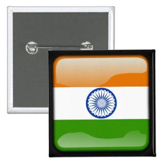 Indian polished flag pinback button