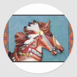 Indian Pony Head Classic Round Sticker