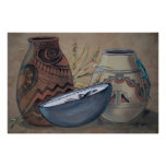 Indian Pottery Design Poster, Neutral Earth Tones Poster