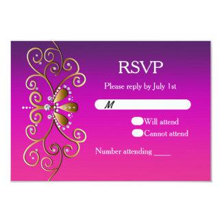 "Indian Princess Purple Pink Gold RSVP card invite 3.5"" X 5"" Invitation Card"