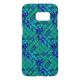 Indian Print Green Teal Blue Diamond Shape Samsung Galaxy S7 Case