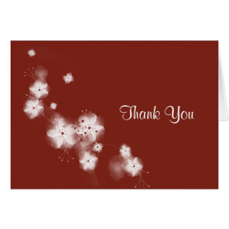 Indian Red Cherry Blossom Thank You Greeting Card