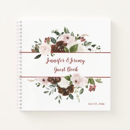 Indian Red Ivory Forest Green Boho Guest Book