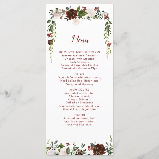 Indian Red Ivory Forest Green Floral Garland Menu
