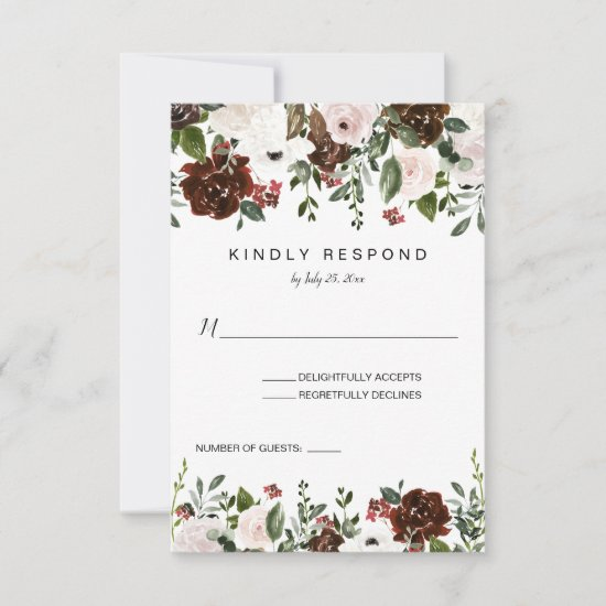 Indian Red Ivory Forest Green Floral Vertical RSVP Card