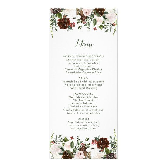 Indian Red Ivory Forest Green Floral Wedding Menu