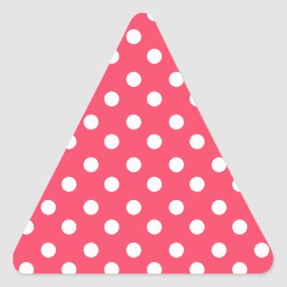 Indian Red Polka Dots Pattern Triangle Sticker