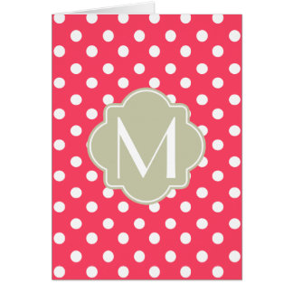 Indian Red Polka Dots Quatrefoil Monogram Card