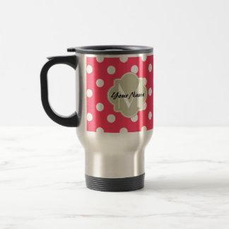 Indian Red Polka Dots Quatrefoil Monogram Travel Mug