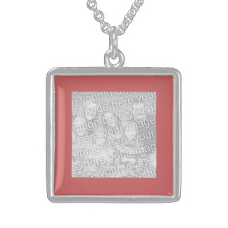 Indian Red Square Photo Border Sterling Silver Necklace