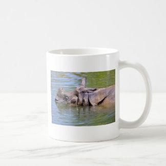 Indian rhinoceros in water coffee mug