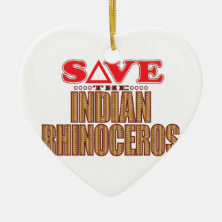 Indian Rhinoceros Save Ceramic Ornament