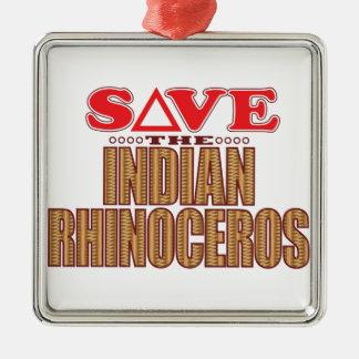 Indian Rhinoceros Save Metal Ornament