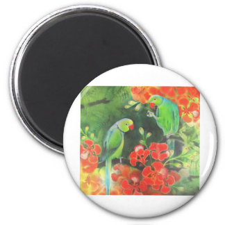 indian ring necks on a flamboyant tree 2 inch round magnet