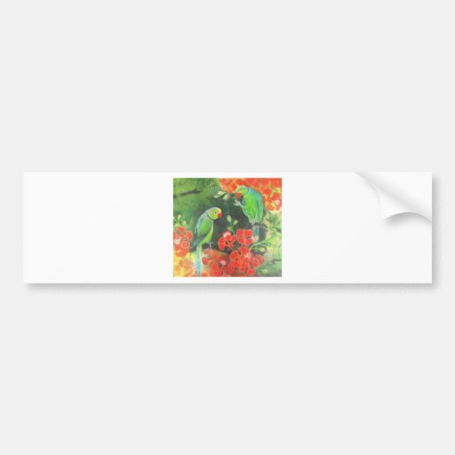 indian ring necks on a flamboyant tree car bumper sticker