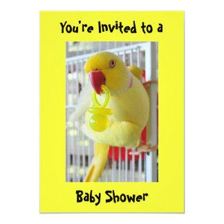 Indian Ringneck Parakeet Yellow Baby Shower Card