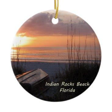 Beach Themed Indian Rocks Beach Florida Sunset Beach Boat Ceramic Ornament