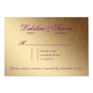 Indian RSVP Wedding Reply Card Damask Purple Gold