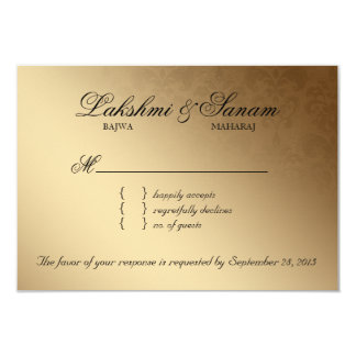 Indian RSVP Wedding Reply Card Damask Red Gold