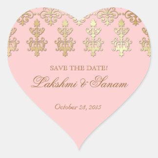 Indian Save Date Wedding Sticker Pink Heart