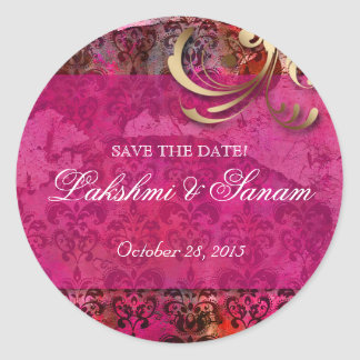 Indian Save Date Wedding Stickers Pink Gold Round
