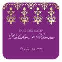 Indian Save Date Wedding Stickers Purple Gold sticker