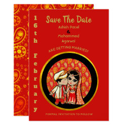 Indian Save the Date Cute Cartoon Bride Groom Card