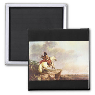 Indian Scout', Alfred Jacob_Art of America 2 Inch Square Magnet