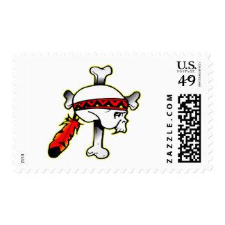 Indian Skull Crossbones Postage Stamp