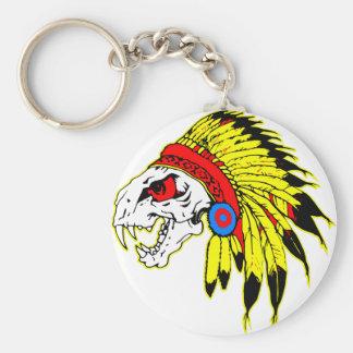 Indian Skull Headress Basic Round Button Keychain