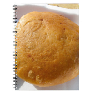 Indian snack food, oily spiral notebooks