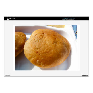 """Indian snack food, oily 15"""" laptop decals"""