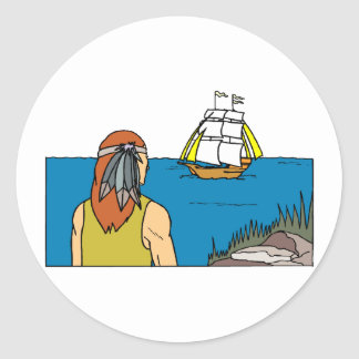 Indian Spots Mayflower Classic Round Sticker