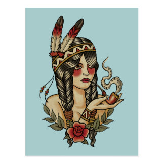 Indian squaw postcard