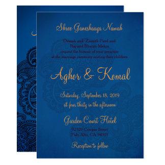 Indian Style Blue Wedding Invitation Card Henna