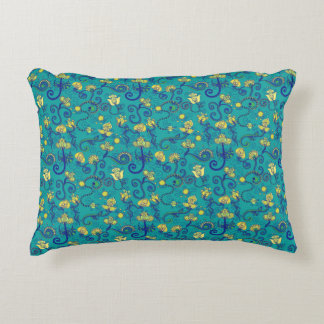 Indian style, boho chic, blue pattern accent pillow