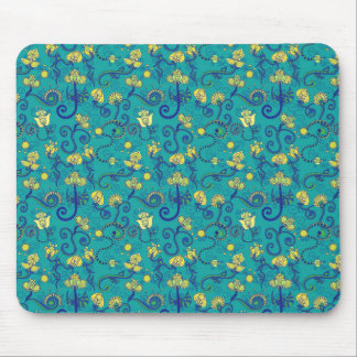 Indian style, boho chic, blue pattern mouse pad