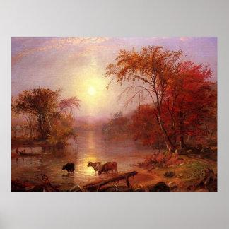 Indian Summer Hudson River by Bierstadt Poster