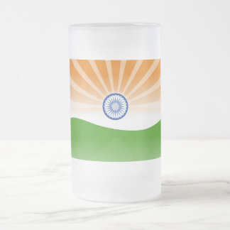 """""""Indian"""" sun Frosted Glass Beer Mug"""