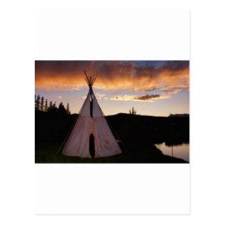 Indian Teepee Sunset  landscape Postcard