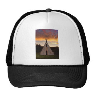 Indian Teepee Sunset vertical image Mesh Hats