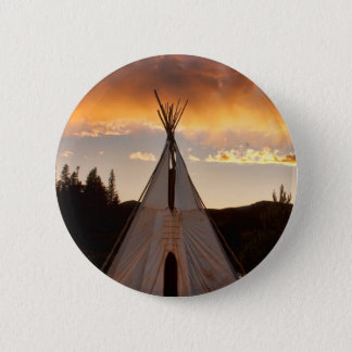 Indian Teepee Sunset vertical image Pinback Button