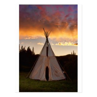 Indian Teepee Sunset vertical image Postcards