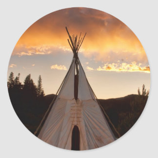 Indian Teepee Sunset vertical image Round Stickers