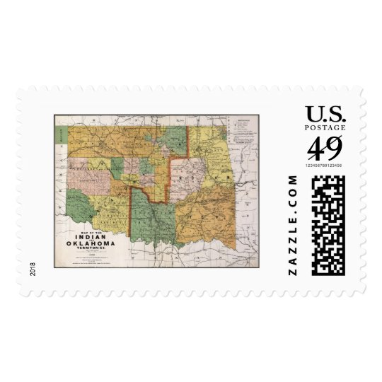 Indian Territory OK Map 1892 Postage