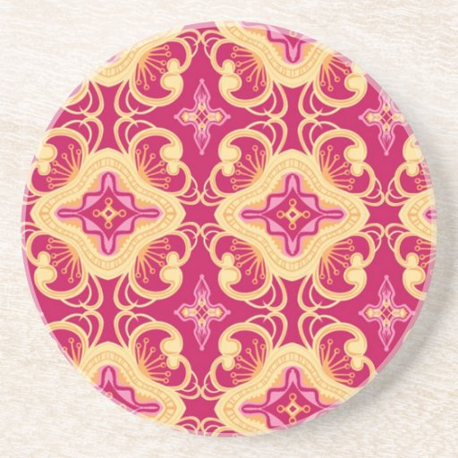 Indian textile sandstone coaster zazzle - Sandstone drink coasters ...