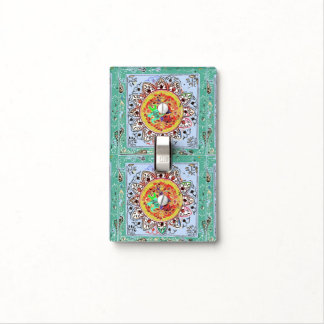 Indian Tile Style Light Switch Cover Green/Yellow