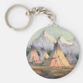INDIAN TIPI CAMP by SHARON SHARPE Keychain
