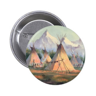 INDIAN TIPI CAMP by SHARON SHARPE Pinback Button