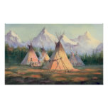 INDIAN TIPI CAMP by SHARON SHARPE Print